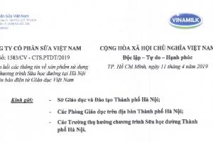 Công ty cổ phần sữa Việt Nam phản hồi các thông tin về sản phẩm sử dụng trong Chương trình Sữa học đường tại Hà Nội trên báo điện tử Giáo dục Việt Nam