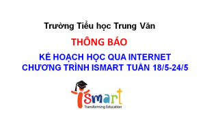 Kế hoạch học qua Internet chương trình ISMART TUẦN 18/5-24/5