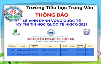 TH TRUNG VĂN – THÔNG BÁO LỄ VINH DANH VÒNG QUỐC TẾ KỲ THI TIN HỌC QUỐC TẾ HKICO 2021